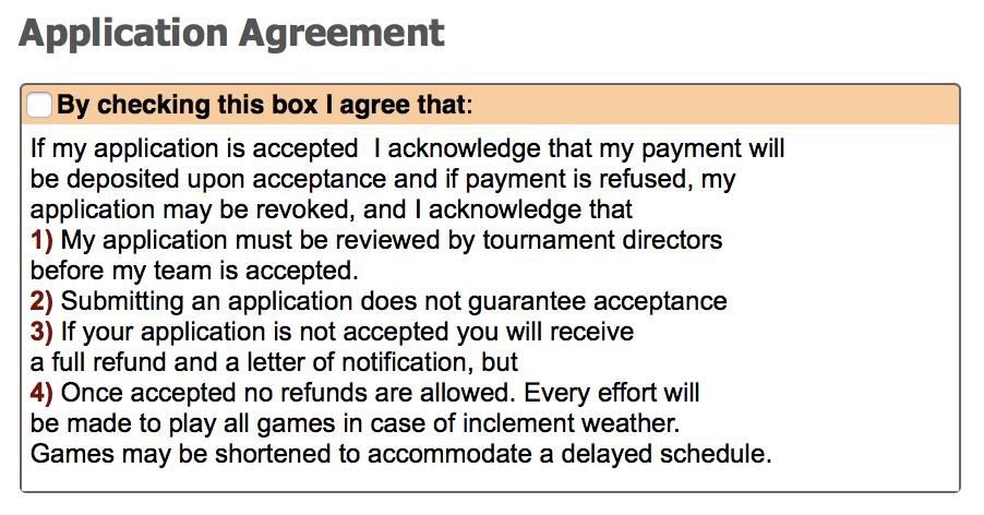 Tournament Application Agreement Gotsoccer